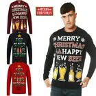 Mens Christmas Beer Eat Funny Xmas Top Knitted Party Jumpers Unisex Sweatshirt