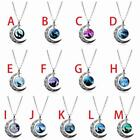 Fashion Crescent Moon Pendant Necklace Howling Wolf Cabochon Glass Chain V0e6