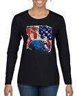 Patriotic Eagle American Flag American Pride Womens Graphic Long Sleeve T-Shirt