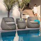 Outdoor Delux Furniture Lounge Wicker Chairs Table Bistro Patio Garden Cushioned
