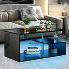 High Gloss RGB LED Coffee Table with Drawers Storage Modern Sofa Side End Table