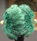 """forest green Marabou Ostrich Feather fan with Travel Bag 21"""" x 38"""""""