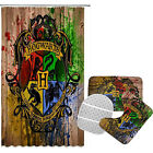Harry Potter Bathroom Rugs Set 4PCS Shower Curtain Anti-Slip Toilet Seat Cover