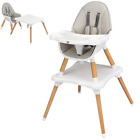 Baby Wooden High Chair Detachable Tray Convertible Toddler Booster Feeding Chair