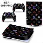 Skin Wrap Decal for PS5 Console and Controllers Digital Version & Disc Black