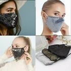 Reusable Sequin Glitter Face Masks Washable Bling Mouth Cover Shield Party Club