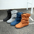 Ladies Faux Suede Ankle Boots Casual Slouch Flat Boots Round Toe Retro Zip Shoes