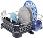 Large Kitchen Sink Dish Drying Rack with Removable Cutlery Tray and Drainboard