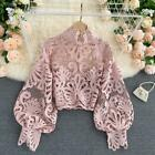Ladies Floral Shirt Lace Hollow Out Tops Puff Sleeve Stand Collar Retro Blouse