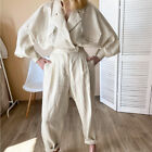 2Pcs Women Suits Cotton Linen Loose Long Sleeves Jacket Tops Casual Trousers