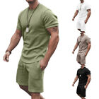 Men's Tracksuits 2-Piece Stretch Suit Short-Sleeved Tops Shorts SportswearSummer