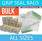 GRIP SEAL BAGS Self Resealable Clear Polythene Poly Plastic Bags Zip Lock Seal