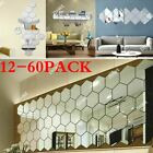 60x 3d Square Mirror Tiles Wall Stickers Self Adhesive Decor Stick On Art Home
