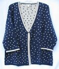 Coldwater Creek Navy & Tan Polka Dot V-Neck Cardigan