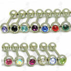 14g CZ CRYSTAL GEM TONGUE BAR 16mm BARBELL IN 13 COLOUR