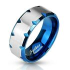 Stainless Steel Men's Blue Edge Faceted Wedding Band Ring Size 9-13