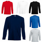 3 FRUIT OF THE LOOM LONG SLEEVE T SHIRTS 100%* COTTON 5 COLOURS S M L XL XXL