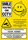Personalised Smiley CCTV Camera in operation Warning Sign Your Company Details