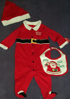 Infant Baby Works Brand Red Xmas Santa Ho Ho Ho Suit 3 piece set Size 0-3M 3-6M