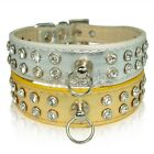 "10-16"" Silver Golden  Leather  Rhinestone Dog Collar Small Medium"