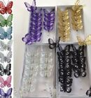 12 x clip on jewelled/glittered 8cm decorative butterflies perfect for weddings