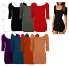 WOMENS LADIES 3/4 SLEEVE LONG TEE DRESS TOP T-SHIRT ALL COLOURS