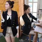 Women Double-breasted Lace Fold Cuff Casual Suits Blazer Jacket Outerwears Black