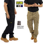 Mens Cargo Work Trousers With Knee Pad Pockets Black or Navy Size 28 to 52