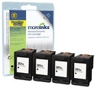 4 Remanufactured HP 301XL Black Ink Cartridges for Deskjet Printers