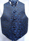 Boys Black/Royal Blue Swirl Waistcoat w/wo Matching Cravat or Bowtie from 15.45