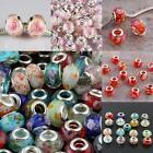 WHOLESALE FACETED MURANO LAMPWORK GLASS W/ FLOWER BIG HOLE BEADS FIT EP BRACELET