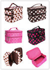 Women Retro Dots Beauty Case makeup Cosmetic Toiletry hand Bag Large 4 colors