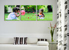 Your Photo/Artwork On Quality Canvas Set Of 3 FRAMED Choice Of Quiet Wall Clock