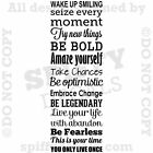 SEIZE EVERY MOMENT WAKE UP SMILING FEARLESS BOLD Quote Vinyl Wall Decal Sticker