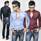 ST41 New Mens Luxury Casual Slim Fit Stylish Dress Shirts 3 Colors 4 Size