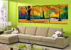 Lake In Autumn Oil Painting Style Canvas Print Set Of 3  With Clock FRAMED