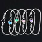 "Bulk Enamel Heart Love Snake Chain Lobster Clasps European Bracelet Bangle 8""L"