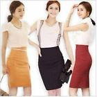 Womens Fitted Business Bodycon Short Career High Waist Pencil Skirt S M L 3color