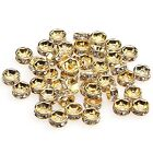 100pcs shiny golden clear crystal rhinestone rondelle findings spacer beads 6mm