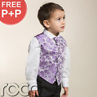Boys Lilac Purple 4pc Wedding Pageboy Communion Formal Paisley Waistcoat Suit