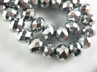 3~12MM Faceted Rondelle Loose Finding Glass Crystal Spacer Bead Silver Plated