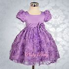 Infant Baby Embossed Flower Girl Dress Up Wedding Party Age 3M-24M FG159