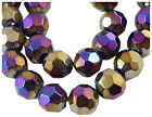 30/40 Fab Facet Electro Glass Round Beads Black-Purple AB♥ 8mm 10mm ♥ lady-muck1