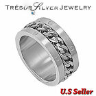 mens stainless steel silver bike chain biker wide band ring size 8 9 10 11 12 13