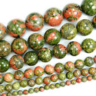 "Natural Unakite Stone Smooth Gemstone Beads 15.5"" 4 6 8 10 12 14 16mm Pick Size"