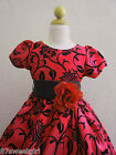 NEW VT  RED  FLOCKING VELVET CHRISTMAS WINTER FLOWER GIRL DRESS  2 4 6 8 10