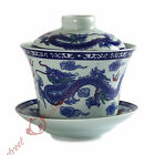 NEW 130ml Chinese JingDe GongFu Tea Porcelain Dragon phoenix Gaiwan teacup Cup