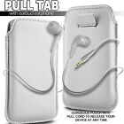 PREMIUM PU LEATHER PULL FLIP TAB CASE COVER POUCH & EARPHONES FOR VARIOUS PHONES