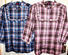 NEW BLUE OR PINK CHECKED PLAID SUMMER COTTON  BLOUSE ~ TOP IN SIZES 10 12 14