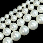 "White Shell Pearl Round Gemstone Beads 15.5"" 4mm 6mm 8mm 10mm 12mm 14mm 16mm 18"